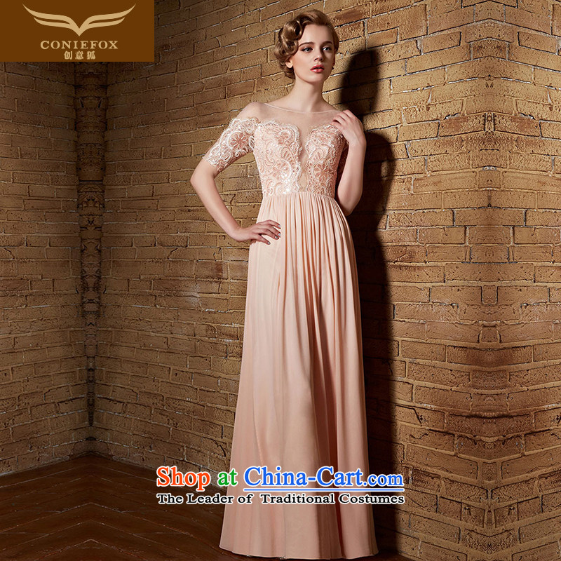 Creative Fox evening dresses?2015 New banquet evening dresses lace pink bride bridesmaid dress long high toasting champagne evening dresses waist long skirt color pictures were 30,839 abducted?M