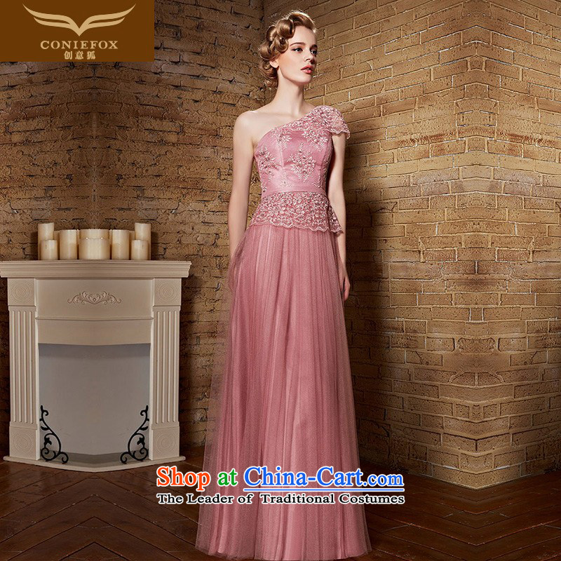 Creative Fox evening dresses?2015 new shoulder bridesmaid dress long pink dress evening banquet services under the auspices of the annual bows dress skirt 30893 pink?XXL