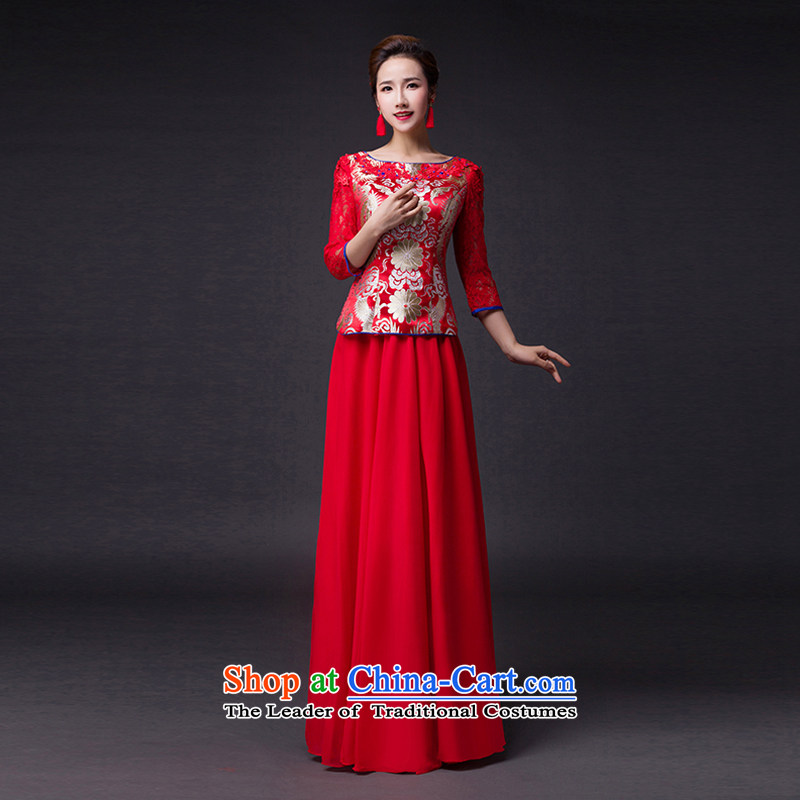 Hei Kaki?2015 new bows dress round-neck collar Stylish retro fine embroidery irrepressible tray clip dress skirt?L018?RED?XS