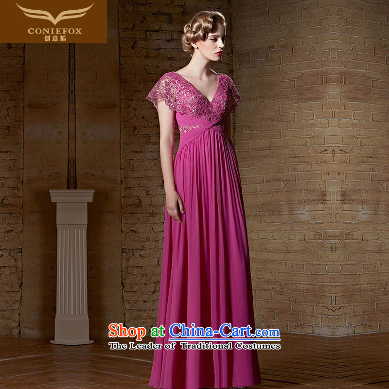 Creative Fox evening dresses?2015 new evening dresses lace red wedding dress long deep V evening dresses bridesmaid banquet service 30895 color photo of bows?L