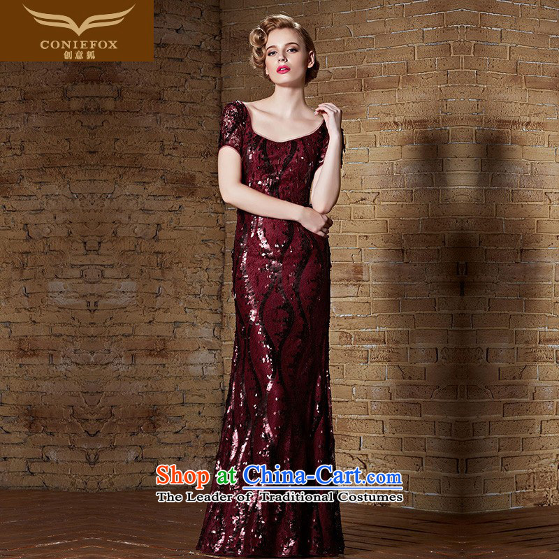 Creative Fox evening dresses?2015 New Red Dress banquet bows long service Sau San back evening dress moderator evening dress 82135 Female picture color?XXL