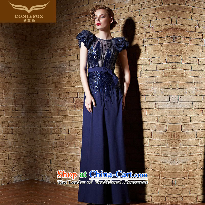 Creative Fox evening dress stylish light slice banquet evening dress long evening dress dresses Sau San bows services performed by the persons chairing the blue dress long skirt 82193 color picture M
