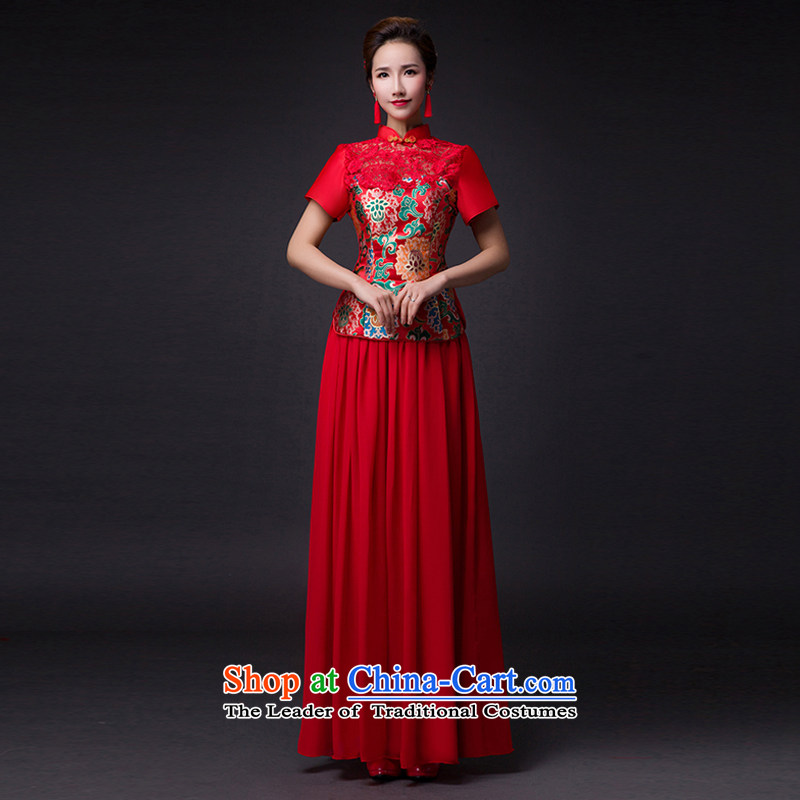Hei Kaki�2015 new bows dress classic style of fine Antique Lace irrepressible tray clip dress skirt�L019�RED�XXL