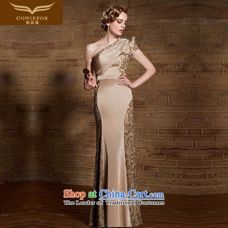 Creative Fox evening dresses 2015 New Long Sau San Pearl lace dress shoulder bridesmaid dress evening dress bride bows 30882 Brown?M
