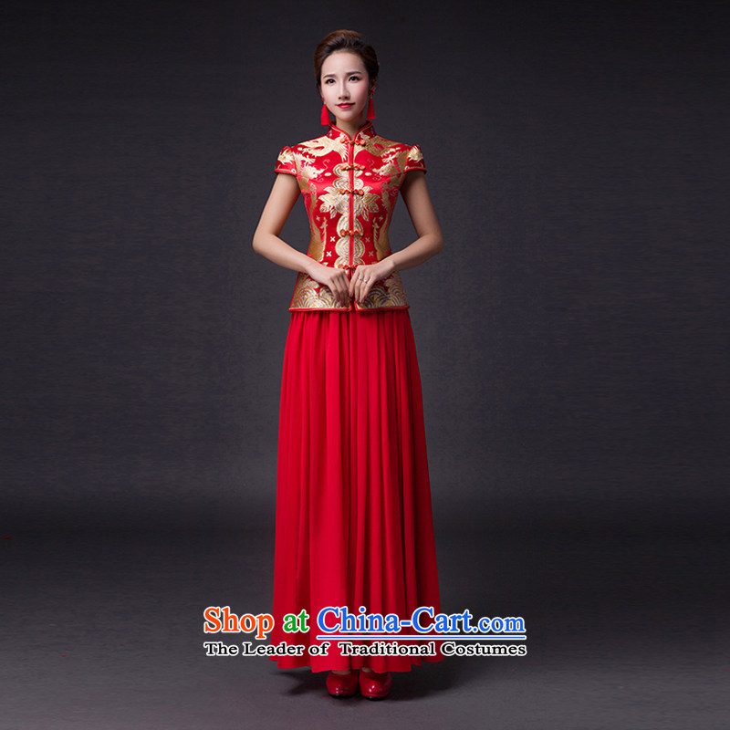 Hei Kaki�2015 new bows dress classic style of retro fine embroidery irrepressible tray clip dress skirt�L020�Red left tailored Size