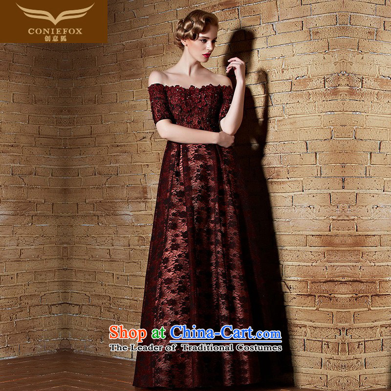 Creative New 2015 Fox evening dresses lace red dress long Staples Top Loin of Pearl River Delta field for evening a bows dress banquet evening dresses long skirt 82155 Deep Red?M