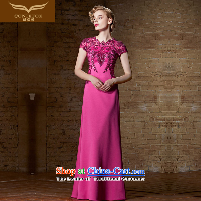 Creative Fox banquet evening dress elegant evening performances dress moderator Sau San long skirt female evening drink service bridal dresses in red 30899 Yingbin?L