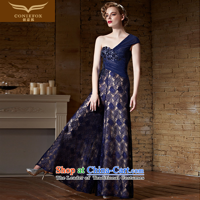 Creative Fox evening dresses?2015 new sexy shoulder dress long skirt blue long gown evening dresses services under the auspices of the annual bows 82156 picture color?XXL