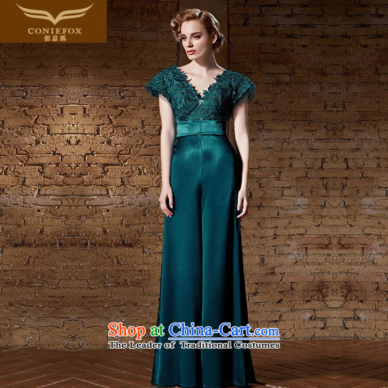 Creative Fox evening dresses?2015 new evening dresses V banquet dress long drink service model     bridesmaid dress annual meeting of persons chairing the 30885 picture color?XL