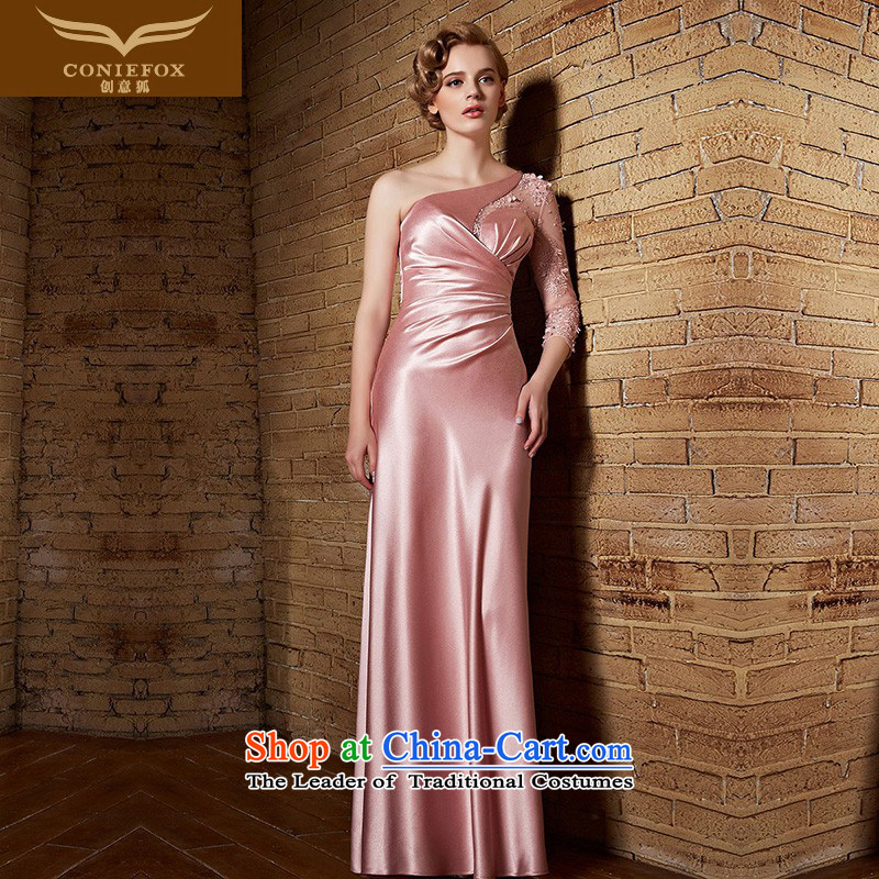 Creative Fox evening dresses pink shoulder lace bride wedding dress elegant long bridesmaid dress chaired performances long skirt dresses dress welcome 30853 picture color?XL