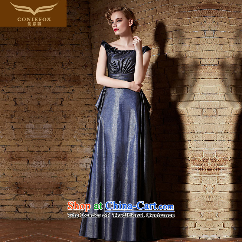 Creative Fox evening dresses?2015 new long dresses and stylish shoulders banquet evening dresses bows to the annual meeting of persons chairing the dress 82192 color picture?S