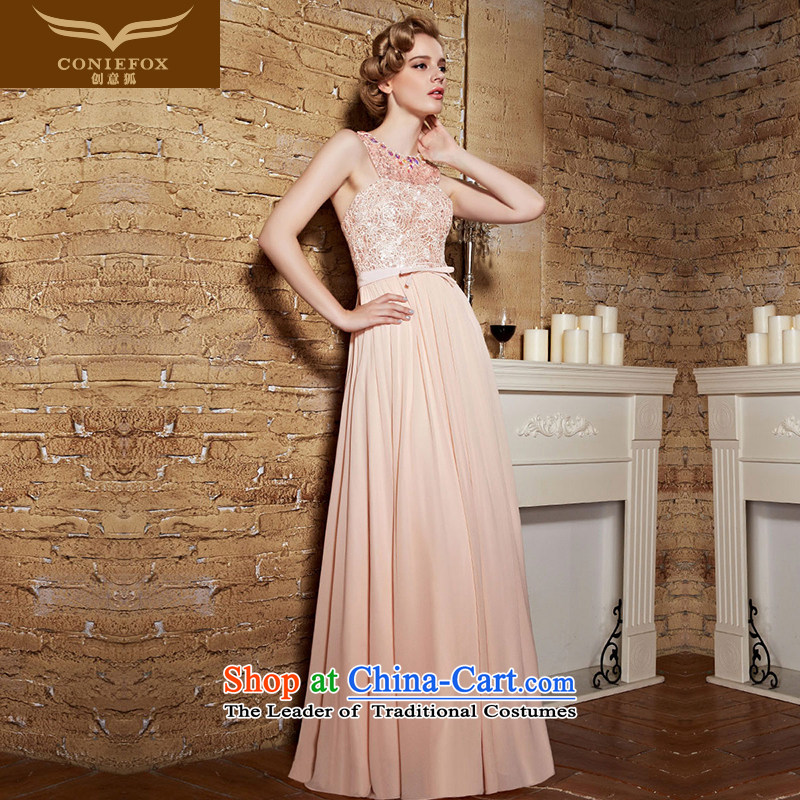 Creative Fox evening dresses?2015 new bride pink dresses bridesmaid banquet Sau San long skirt evening dress uniform welcome service?30852 bows?pink?S