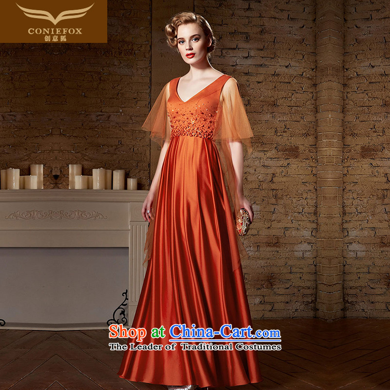 Creative Fox evening dresses long gown bows service banquet Sau San female bridesmaid dress V-Neck dress annual meeting under the auspices of evening performances dress long skirt?82180?picture color?XL