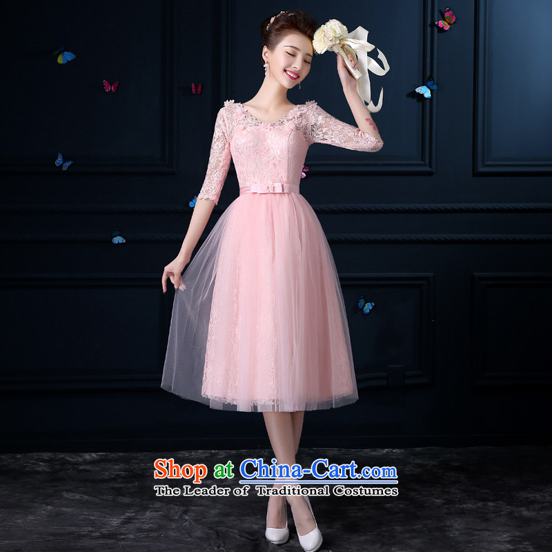 The privilege of serving-leung new 2015 bridesmaid services in the long summer female) bridesmaid mission sister skirt small dress bridesmaid skirt?V-Neck -?3XL cuffs