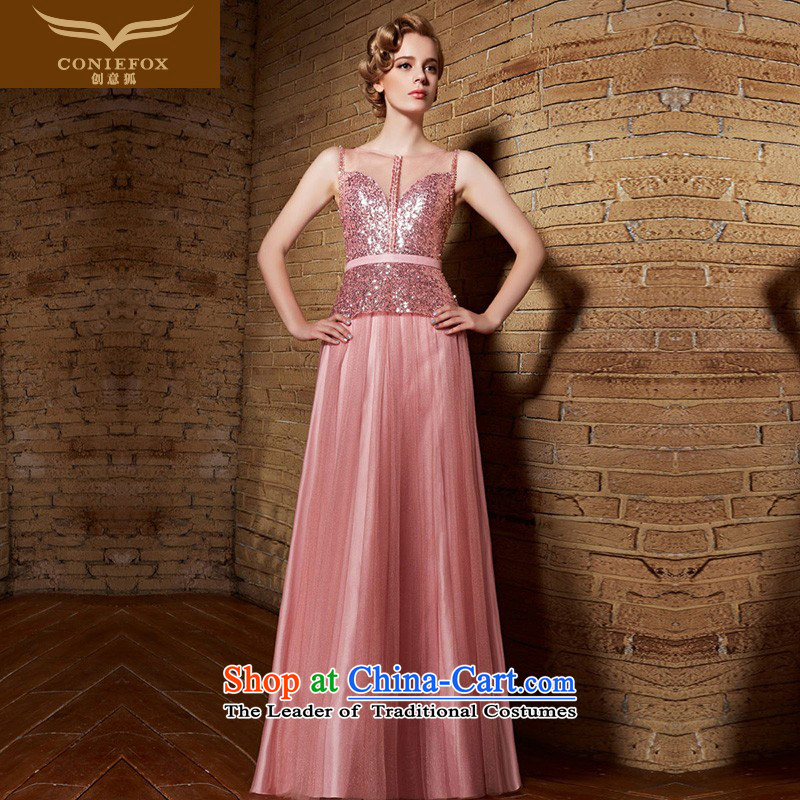 Creative Fox evening dresses?2015 New banquet dinner dress bride services Pink dresses bows of Sau San female bridesmaid skirt dress?30861?pink?XXL
