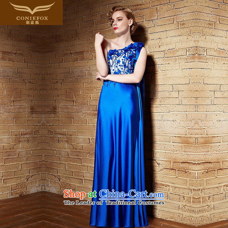 Creative Fox evening dresses banquet dress long evening Sau San shoulder bridesmaid dress blue dress bows her dress and under the auspices of the annual meeting to dress skirt 82168 picture color�XXL
