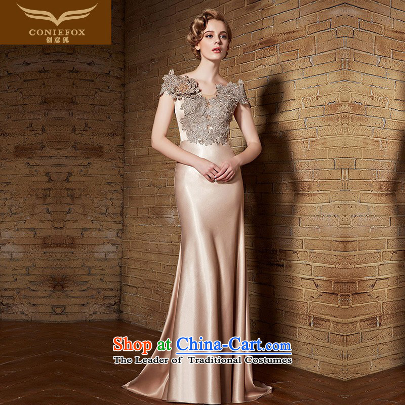 Creative Fox evening dresses?2015 new evening dress banquet crowsfoot dress skirt long bows dress female annual Sau San moderator dress 30905 the picture's color?M