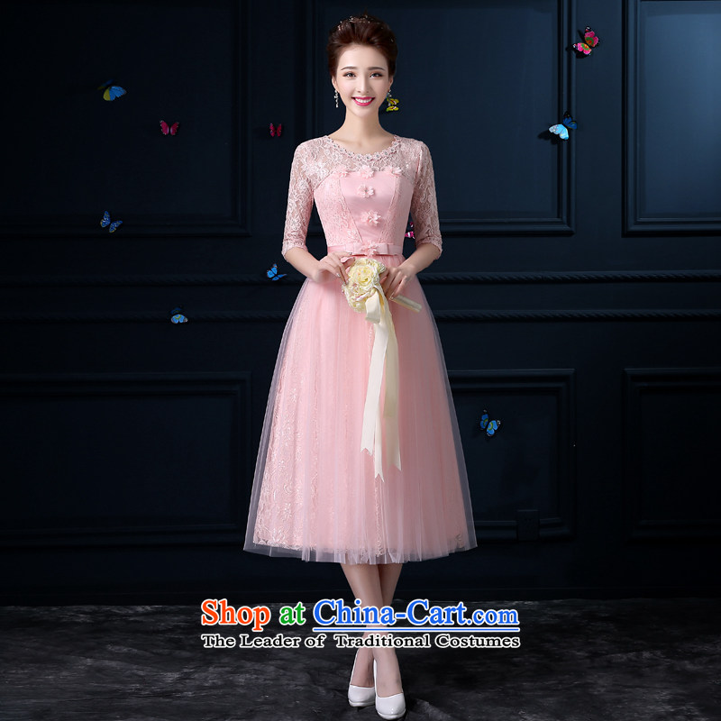 The privilege of serving-leung new 2015 bridesmaid services in the long summer female) bridesmaid mission sister skirt small dress bridesmaid skirt round-neck collar chest with flowers -- sleeved XL