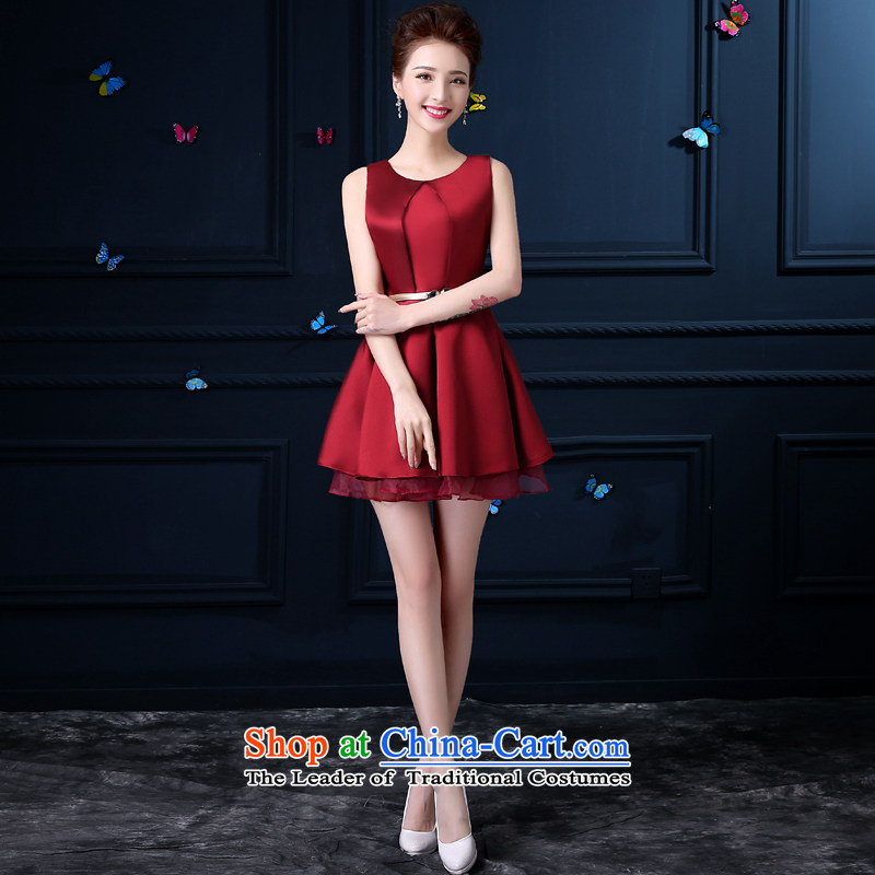 Evening dress new summer 2015 small dining Dress Short) Bride wedding dress bows to skirt the girl evening deep red?M
