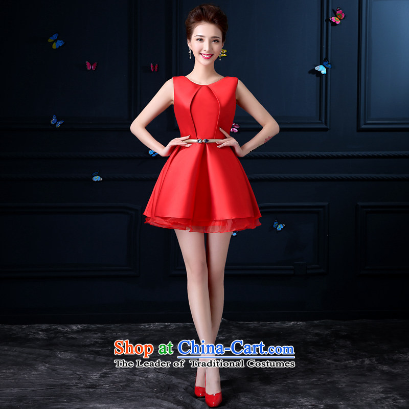 The privilege of serving-leung 2015 new evening dresses bride red bows service of marriage small banquet evening dress female red?S