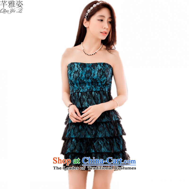 C.o.d. 2015 new larger dress Sleek and Sexy bare shoulders and chest lace dresses slips evening night with show skirts blue skirt cake�XL�about 120-140 catty
