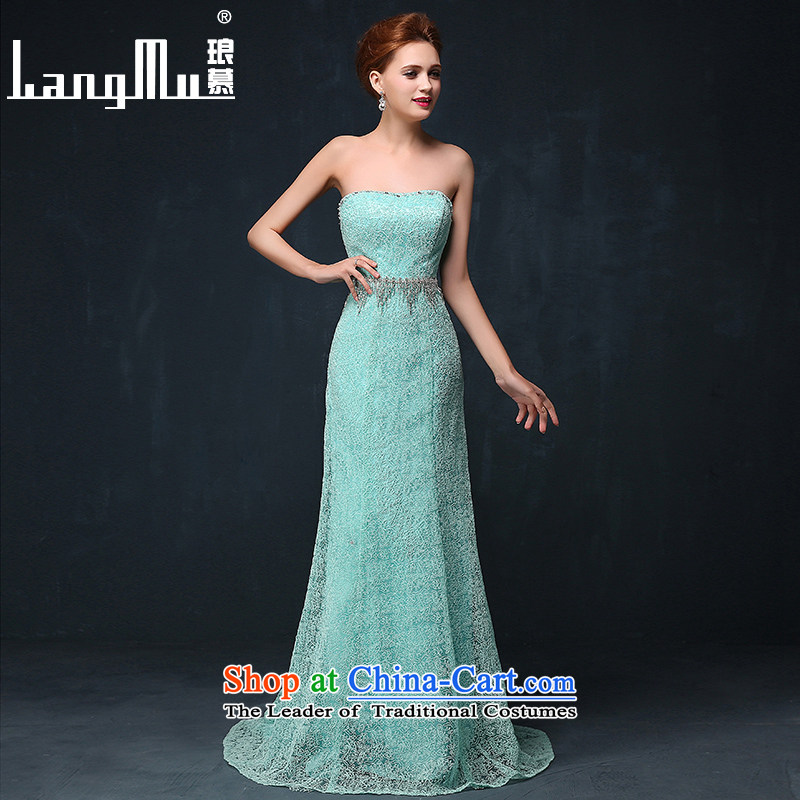 The new 2015 Luang lace anointed chest Sau San dress marriages evening drink service banquet dress long summer lake blue XL