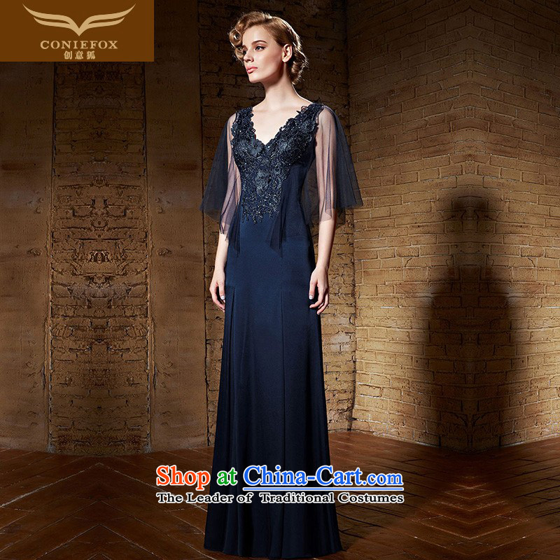 Creative Fox evening dresses?2015 new products blue dress V-Neck back dress long gown skirt bows to Sau San performance dress?82138 presided over the?blue?XL