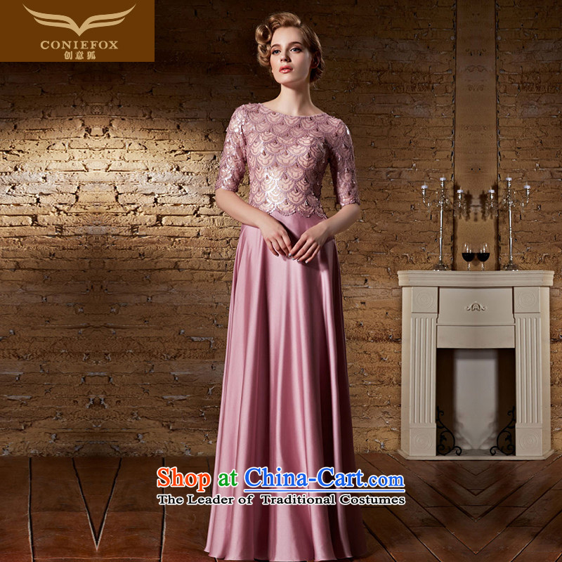 Creative Fox evening dresses pink dresses marriages bows service long evening dress up in evening dress cuff banquet hosted long skirt dress?30859?aubergine?XXL