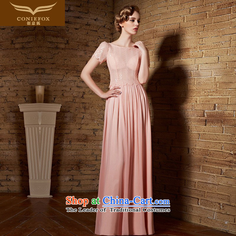 Creative Fox evening dresses long pink bride bridesmaid dress bows services wedding dresses silk lei short-sleeved banquet dress moderator dress long skirt?30838?picture color?L