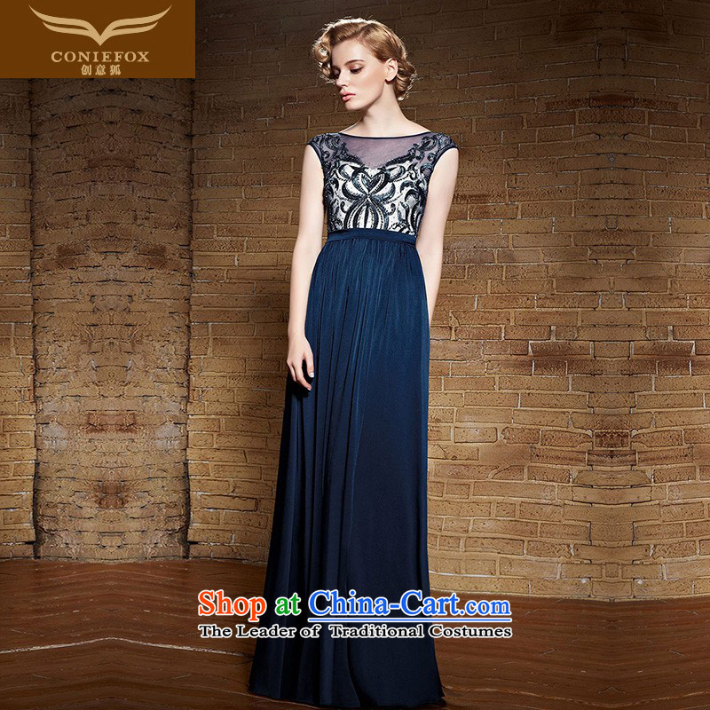 Creative Fox evening dresses?2015 new products long gown evening banquet bows to the Blue Lace Embroidery dress annual meeting under the auspices of dress long skirt 82139 Blue?M