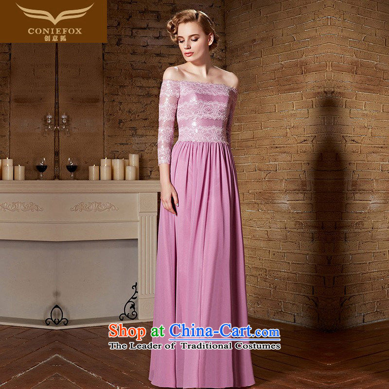 Creative Fox evening dresses?2015 new pink long-sleeved a field for the wedding dress bridesmaid dress banquet long evening dress bows service?30888?picture color?XL