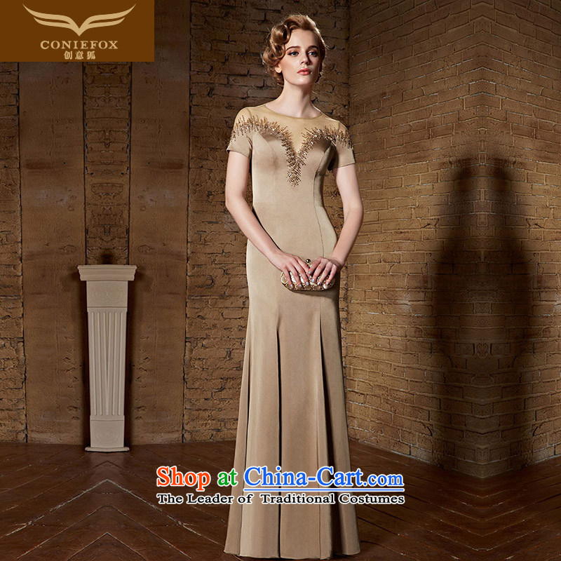 Creative Fox evening dresses?2015 New banquet dress long skirt long concert dresses Sau San moderator toasting champagne evening dress uniform?82165?brown?L