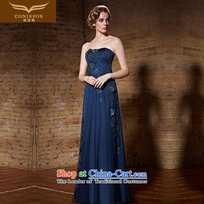 Creative Fox evening dresses?2015 new blue spatula chest banquet evening dresses manually staple bead dress skirt annual meeting presided over a drink service 82150 dress Blue?M