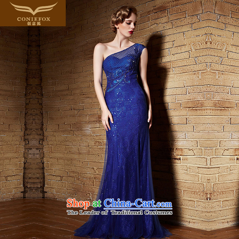 Creative Fox evening dress blue bride wedding dresses toasting champagne evening service lace shoulder banquet long to dress presided over?30860 dress?blue?S Performance