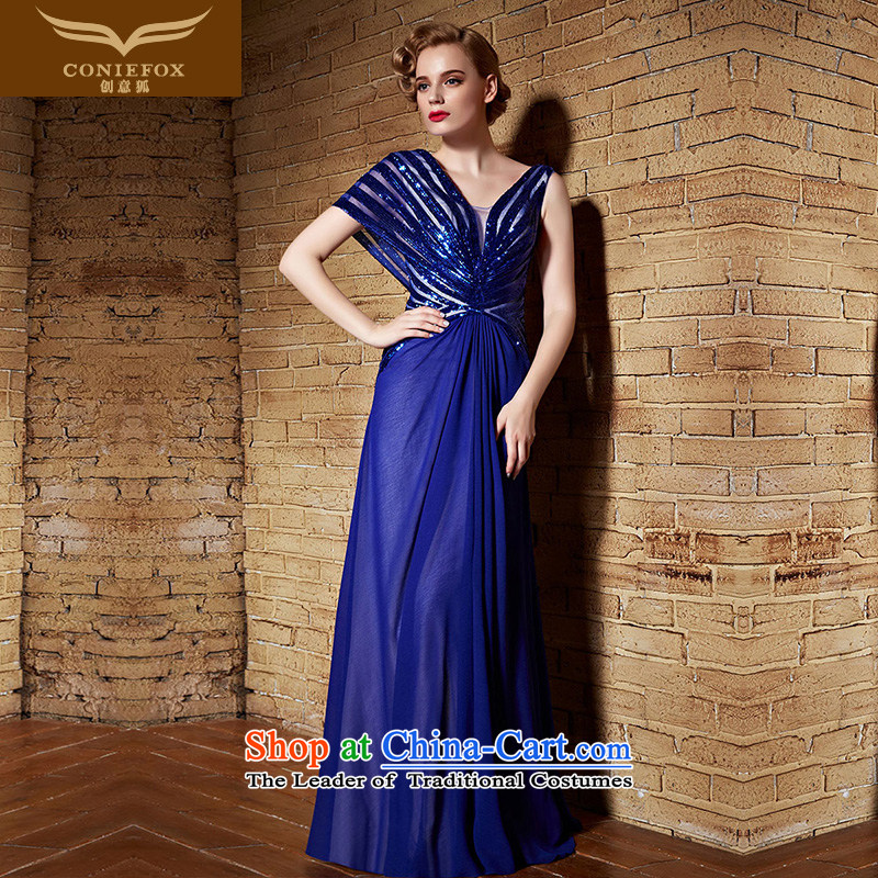 Creative Fox evening dresses�2015 new evening dresses long blue V-Neck back banquet services under the auspices of dresses dress bows dress 82199 will Blue�M