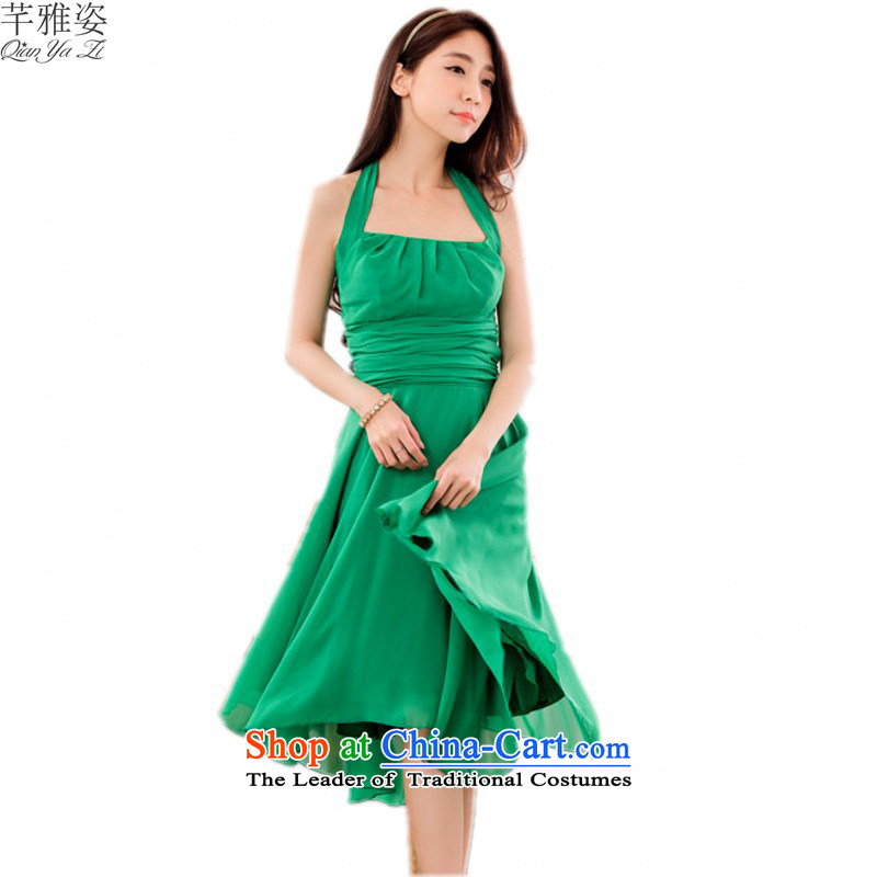 C.o.d. 2015 new stylish solid color chiffon dresses xl sexy back to dress also slips annual bridesmaid sister dress skirt?around 120-140 catty green XL