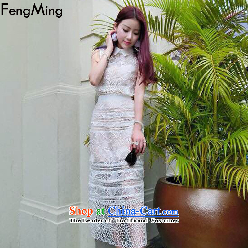 Hsbc Holdings Plc�2015 Summer Ming new stars of the same engraving lace dress female Sau San vest dresses white two-piece�M