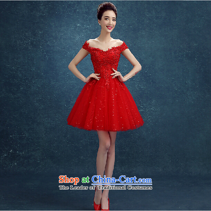 Toasting champagne bride services short skirts spring and summer new stylish Red slotted shoulder lace marriage small dress bridesmaid evening dress red made no refund is not shifting