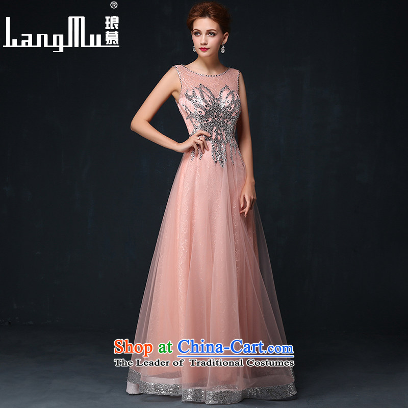 The new 2015 Luang dress shoulders long banquet SMD Red Dress bride will serve the summer bows meat pink�XL