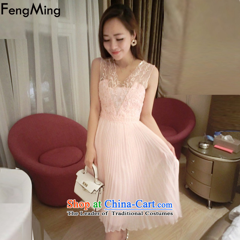 Hsbc Holdings Plc?2015 Summer Ming new western heavy industry staples bead vests coral embroidery dress female Sau San ultra-sin chiffon dresses pink?S