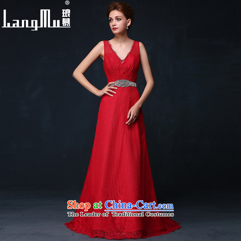 The new 2015 Luang dress shoulders lace back deep V red evening banquet dress bride bows Services Mr Ronald Red?XL