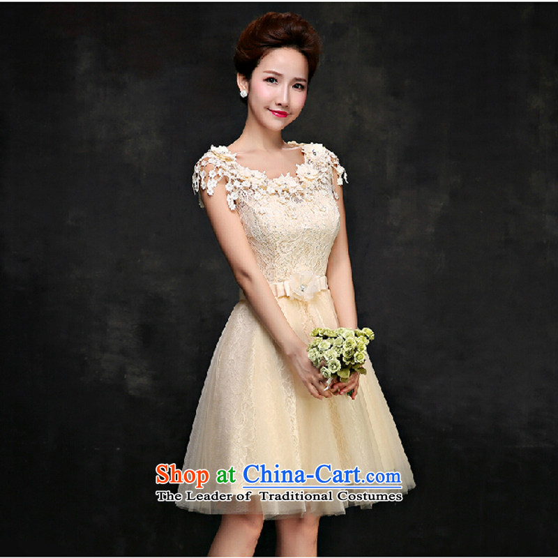 Pure Love bamboo yarn 015 Chun wedding dresses Bridal Services red word bows shoulder bridesmaid Services Mr Ronald small dress champagne color?S female skirt