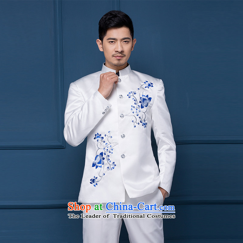 Pure Love bamboo yarn wedding dresses men's dress wedding photography dress China wind moderator dress male Chinese tunic will Men Arena porcelain Chinese White small mackerel?190_XXXL_200 around 922.747