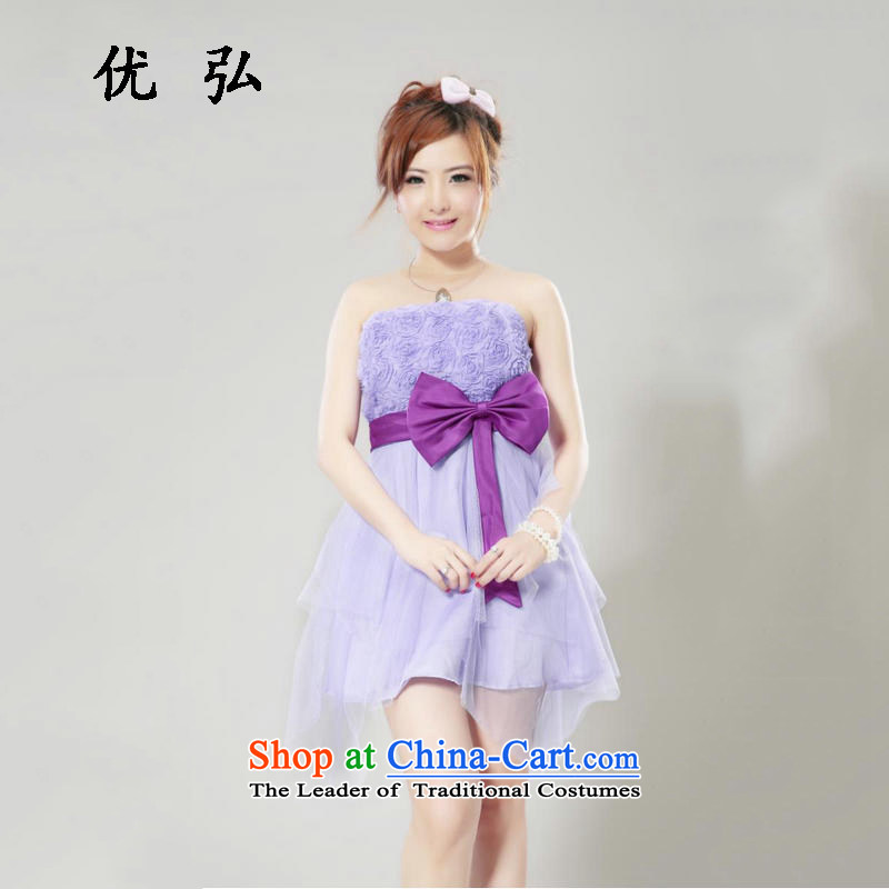 Optimize new dresses collision Hong-colored short of Hamor bow tie bows services bridesmaid Chest dinner dress new mz5101 purple are code