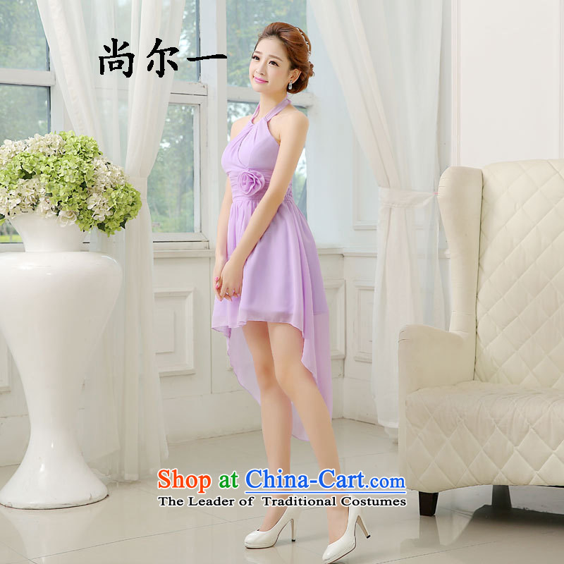 Naoji summer bridesmaid services sister dresses short of marriages bows to the girl will small evening dresses 6404 light purple are code