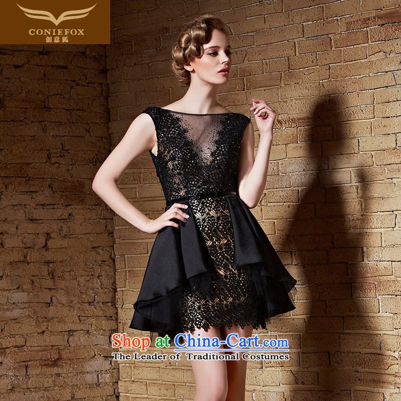 Creative Fox2015 tailored dress small black dress bows service banquet dress sleeveless shoulders short skirt performances conducted dress skirt 82211 tailored black