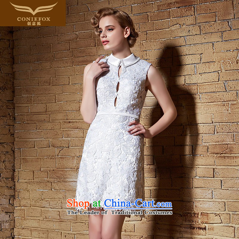 Creative Fox 2015 tailored small white dresses Dress Short dress bows service banquet dress stylish reception party short skirt 82210) dress tailored White