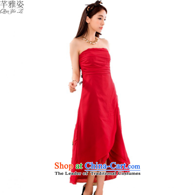 C.o.d. 2015 new anointed chest video pre dress xl pure color chiffon slips under the auspices of the annual mm thick evening dress red�XXXL red bows�approximately 160-180 catty