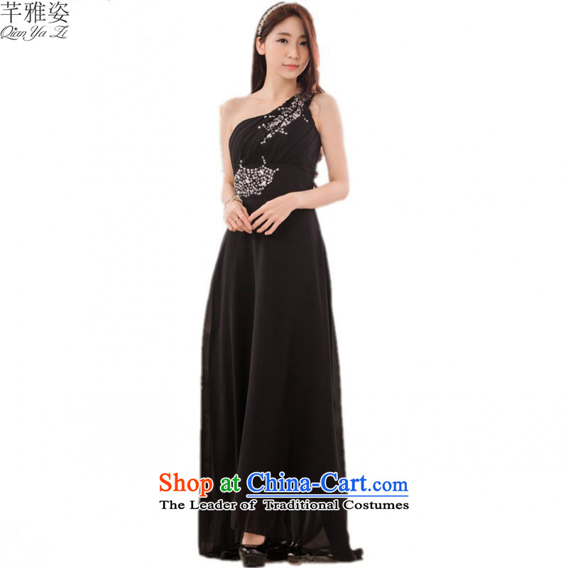 C.o.d. 2015 new US Shoulder Drill long skirt goddesses temperament dresses chiffon dress XL Graphics thin Beveled Shoulder under the auspices of the annual session of?approximately 160-180 3XL black skirt catty