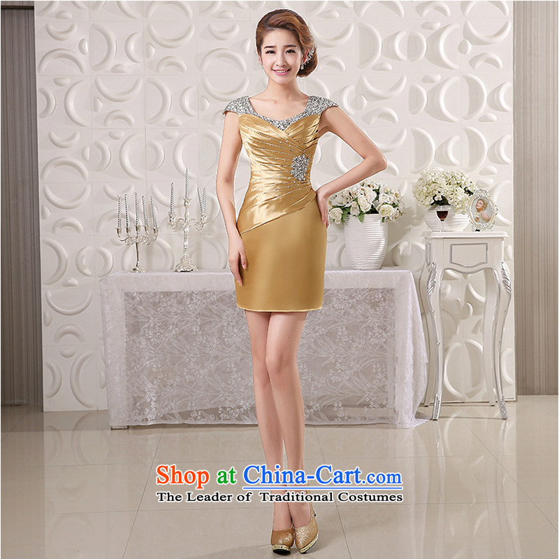 White first into about short) bows Service Bridal Fashion 2015 new shoulders banquet dinner dress hostess Sau San dress spring and summer Champagne Gold?L